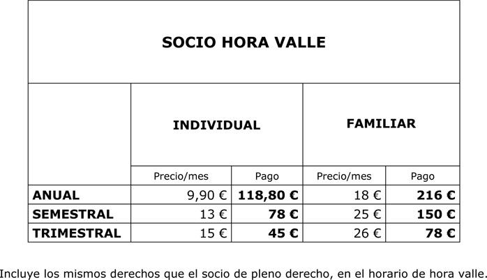 Precios para socios de pádel (hora valle)