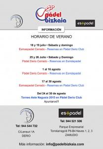 Cartel del horario de verano 2015 en Pádel Bizkaia